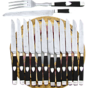 Antique French Sterling Silver & Ebony Handled 12pc Dinner Knife Set, Matching Serving Pieces