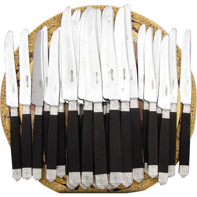 Antique French Sterling Silver & Ebony Handled 24pc Table or Dinner Knife Set