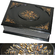 """Antique Victorian Era 16"""" Ebony Cashmere Chest or Dressing Box, Carved Accents"""