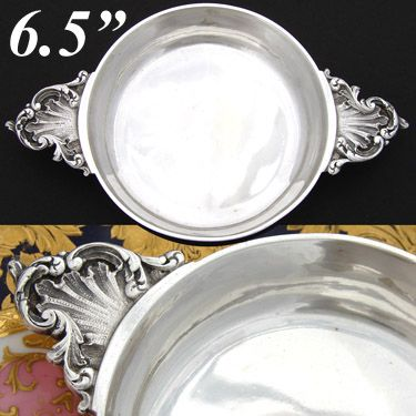 "Antique French Sterling Silver 6.5""  'Ecuelle', Single Serving Dish or Legumier"