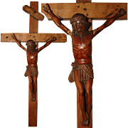 "Antique Carved Wood Religious Sculpture, Medieval Style Crucified Christ on 17"" Cross"