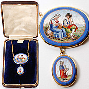 """Antique c. 1800 Micro Mosaic Pendant, 18k Gold 20"""" Chain, 2 Plaques with People, Micromosaic Necklace"""