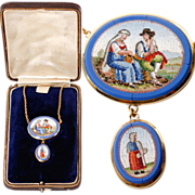 "Antique c. 1800 Micro Mosaic Pendant, 18k Gold 20"" Chain, 2 Plaques with People, Micromosaic Necklace"