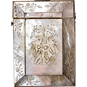 Antique French Hand Carved Mother of Pearl Calling Card Case, Doves, Birds