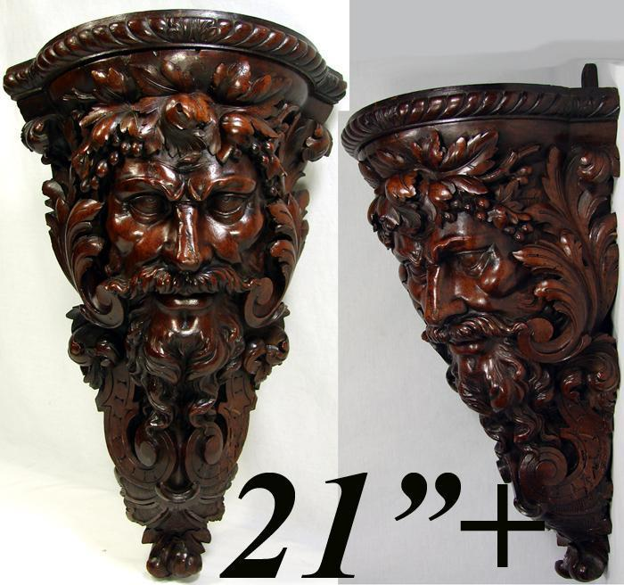 "Huge 21"" Antique Hand Carved Corner Bracket Shelf, Bacchus Figural Carving c1800"