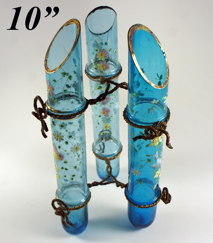Antique Victorian Era French Art Glass 3- Tube Vase, Enamel and Ormolu Wire - Electric Blue Epergne c. 1850