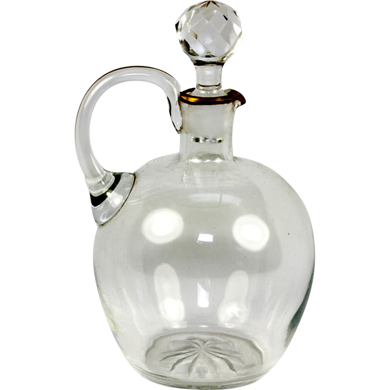 "Antique French 6.5"" Carafe for Wine or Water - Single Setting Size Decanter, Carafon"
