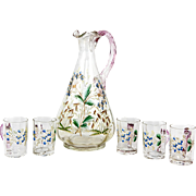 Charming Antique French Enameled Glass Liqueur Service, Decanter with Cordial Cups