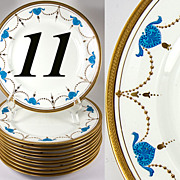 Antique Set of English Bone China, Encrusted and Raised Gold Enamel on 11 Luncheon or Dessert/Salad Plates