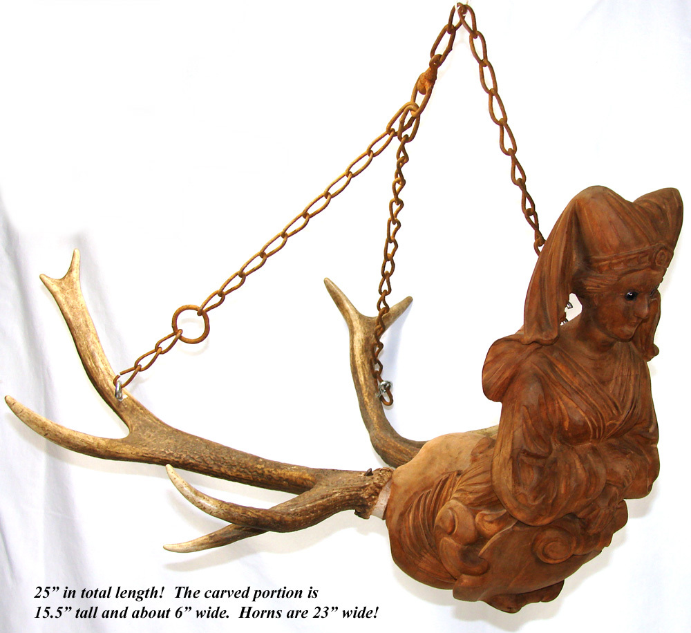 Rare Antique Black Forest Carved Wood Antlers Ceiling