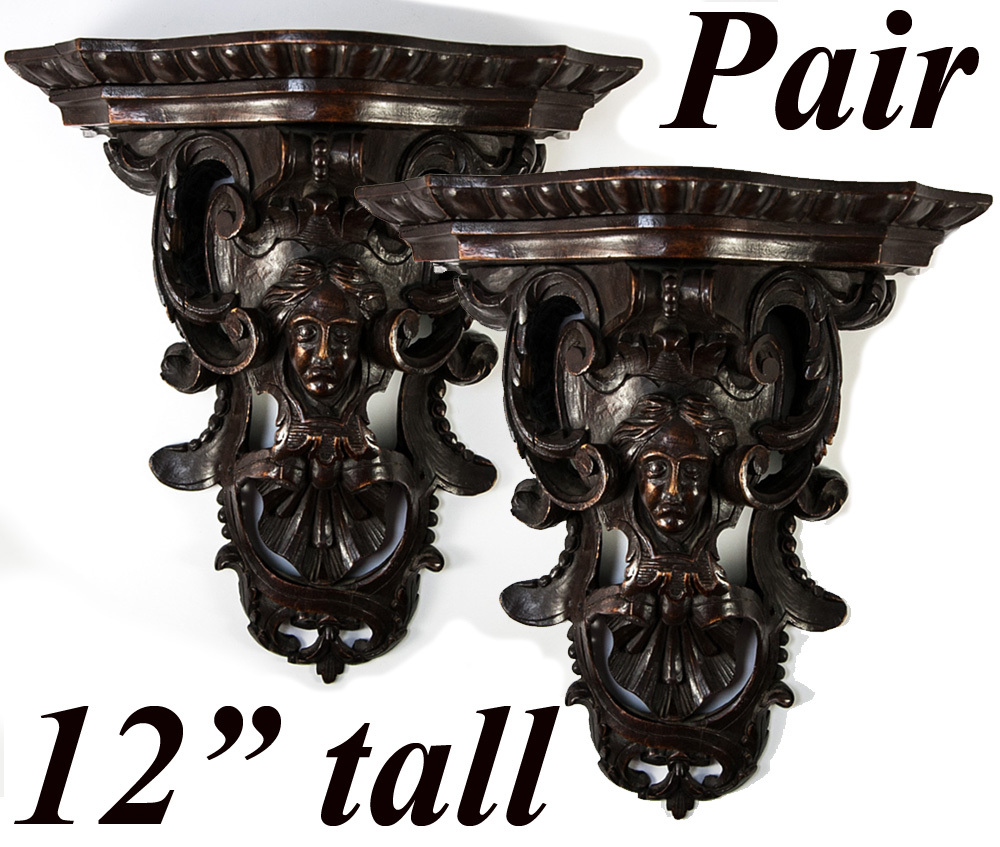 Antique french hand carved black forest figural wall shelves antique french hand carved black forest figural wall shelves consoles a pair 12 x 11 x 525 amipublicfo Image collections