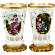 A Pair of Fine Antique Moser Bohemian Art Glass Tumblers, Glass  or Goblet, Vase with Paintings on Each