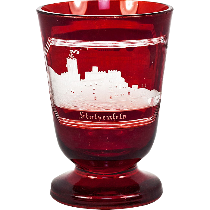 "Antique Egermann Bohemian Engraved Ruby Glass with Victorian Era ""Spa"" Souvenir #2 Architectural Work, c. mid-1800s"