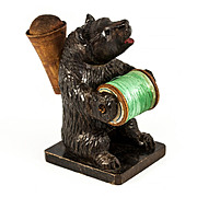 Antique Hand Carved Black Forest Bear Sewing Stand, Thread & Pincushion