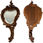 "Fine Antique Black Forest Hand Carved Vanity or Wall Mirror. Rocaille, and 13.5"" Long. Fabulous!"