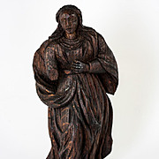 "C.1600s to 1700s Antique Hand Carved Madonna, Female Figure 7"" Tall, Oak"