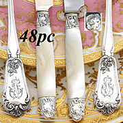 Gorgeous Antique French Sterling Silver 48pc Entremet or Dessert Flatware Set, 4pc Setting for Twelve
