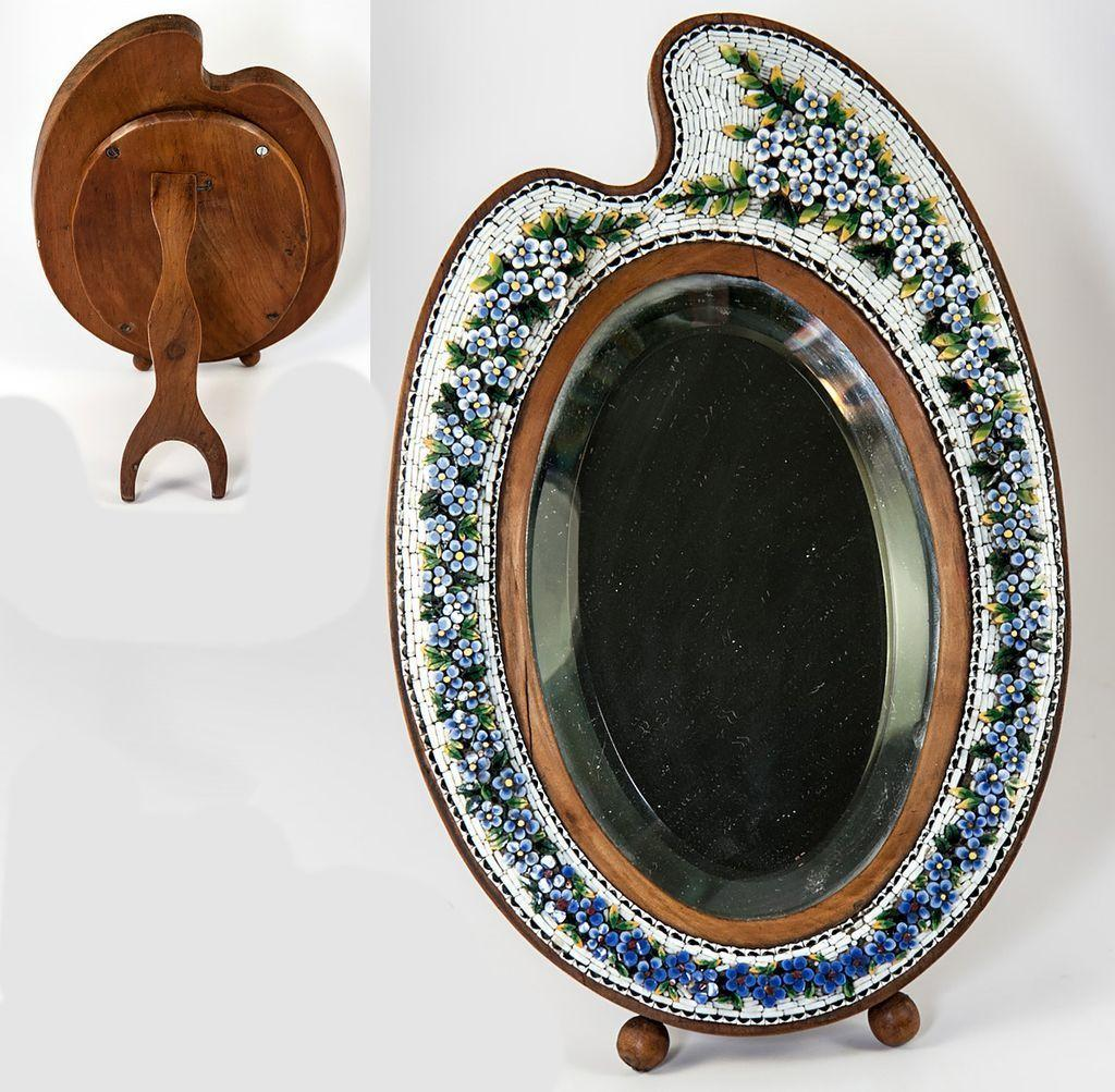 "Antique Italian Micromosaic 8.75"" Vanity Mirror, Wood Artist's Palette, Micro Mosaic"