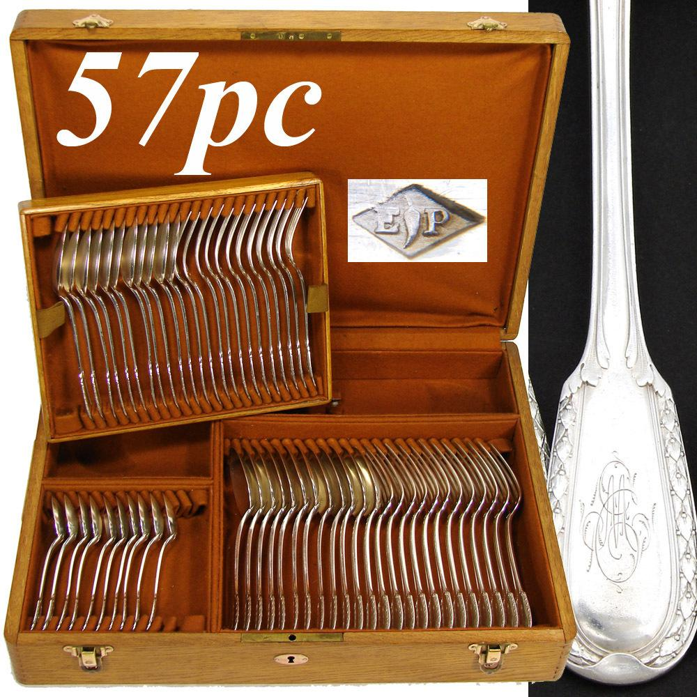 57pc Antique French PUIFORCAT Sterling Silver Flatware Set, 'Suffren' Pattern, Oak Chest