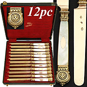Gorgeous Antique French Vermeil, 18K Gold on Sterling Silver, & Mother of Pearl Handle Entremet or Dessert Knife Set, 12pc: LIONS