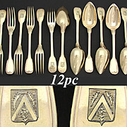 Antique French 18k Gold on Sterling Silver 12pc Dessert Flatware Set, Armorial Crest
