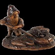 Antique Hand Carved Black Forest Gnome, Cute little Miner, 19th c. with Semi-Precious Stone, Quartz