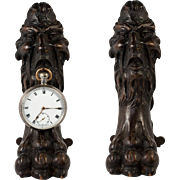 Antique Carved Watch Stand, Pocket Watch Holder, Figural Grotesque, Face and Paw, c.1840s
