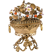 Antique French Sevres Porcelain Flowers, Ormolu Bouquet tops Jewelry Box, Palais Royal Casket