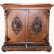 "Superb Antique Victorian Era Carved Curio or Apothecary Cabinet, Box, 18"" Tall Chest - Lion Heads"