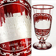 Antique Grand Tour Goblet, Bohemian Ruby Glass Engraved, Chateau de Bade
