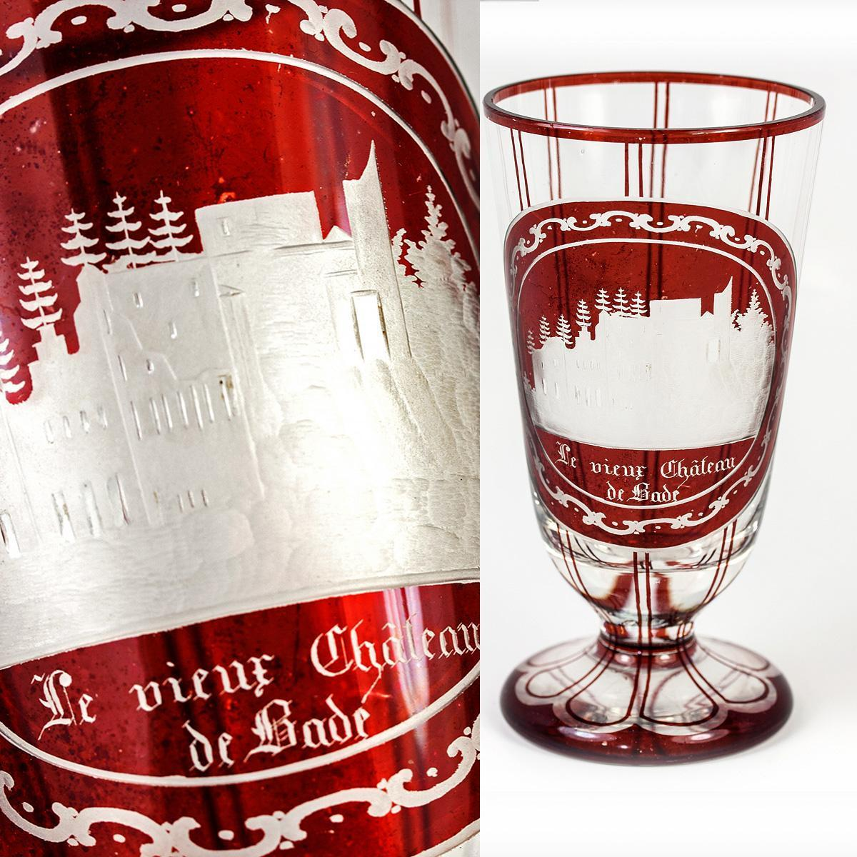 Antique Grand Tour Goblet, Bohemian Ruby Glass Engraved, Chateau de Bade