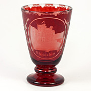 Bohemian Moser Egermann Art Glass Wine Goblet, Rheinstein Castle Ruby Wash, c. 1880-1900