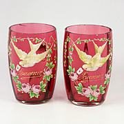 "Pair of 4"" Tall Antique French Cranberry Glass Souvenir Wine Cups, Enamel Doves, Legras"