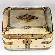 Antique French Faux Mother of Pearl & Ormolu Chocolates Box, Casket for Confections, Jewelry