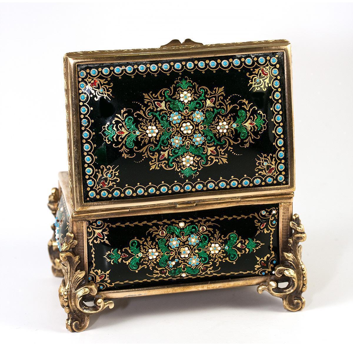 """Antique French Kiln-Fired Enamel Jewelry Casket, Box, Raised Enamel """"Jewels"""""""