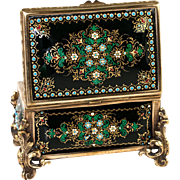 "Antique French Kiln-Fired Enamel Jewelry Casket, Box, Raised Enamel ""Jewels"""