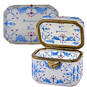 Antique Moser Bohemian Souvenir Sugar Casket, Box, Crackle Glass with Raised Jewel Dots, no Key