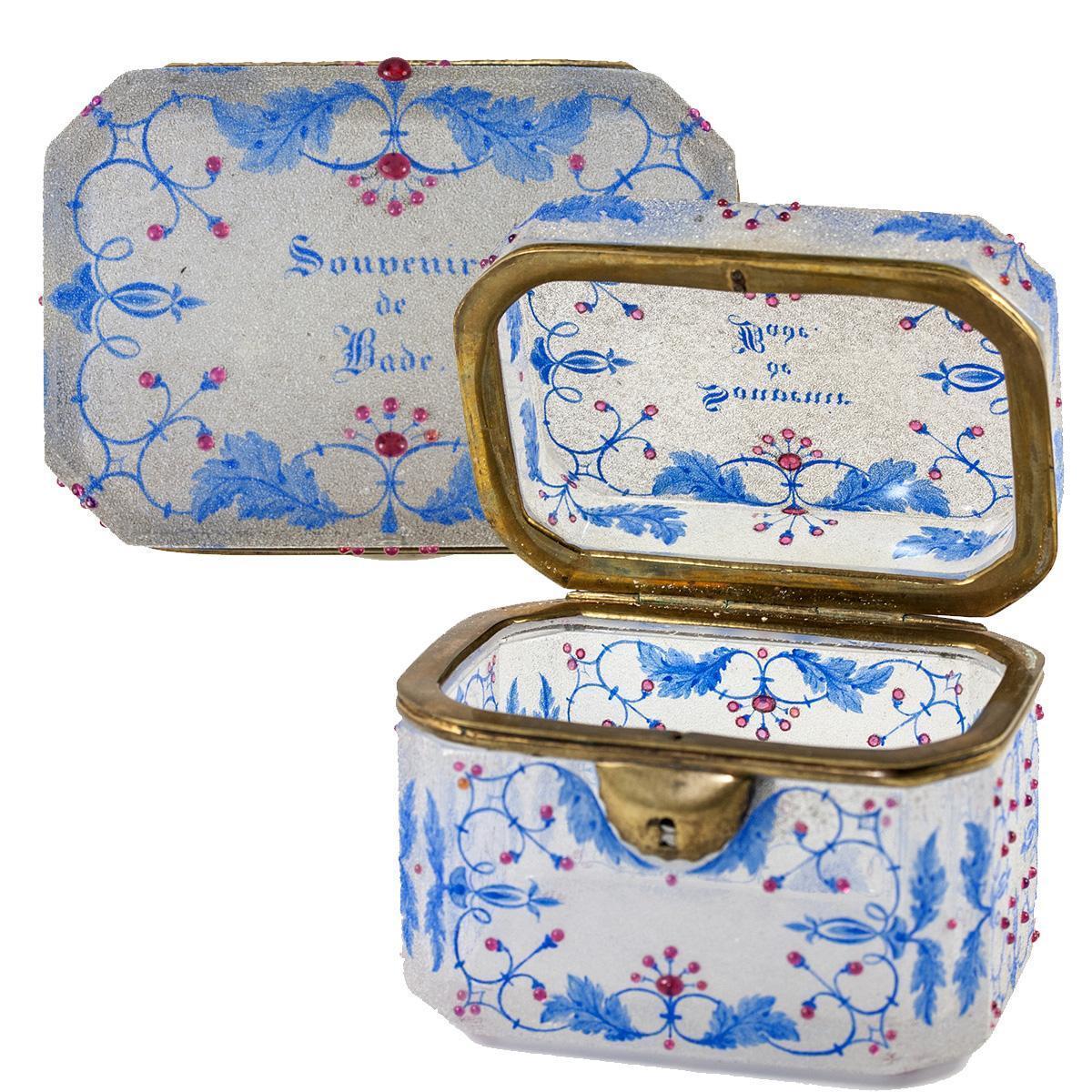 Antique Moser Bohemian Souvenir Sugar Casket, Box, Crackle Glass with Raised Jewel Dots, no Key