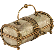 "Antique French 5.5"" long Faux Mother of Pearl Casein Confectioner's Box, Trinket or Jewelry Casket"
