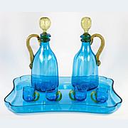 Superb Antique French Napoleon III LeGras Blown Glass Liqueur Service, 9 Pc, Incl Tray, 2 Decanters