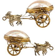 Antique French Palais Royal Mother of Pearl Jewelry Box, Casket, Egg Shape in Ormolu, Goats