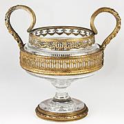 Fabulous Antique French Baccarat Centerpiece, Empire Dore Bronze Framework & Handles