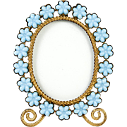 Antique French Opaline Frame, Flowers in Blue Opaline Glass, Ormolu Body & Easel Miniature Gem Frame