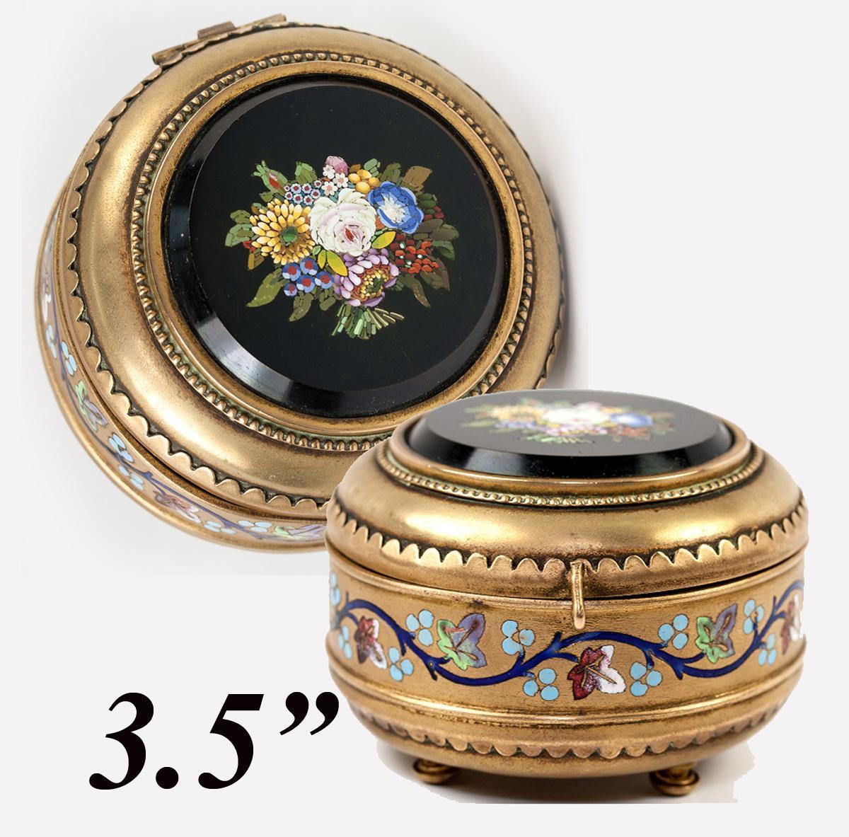 Fine Antique Italian Micromosaic Powder Box, Enamel, Grand Tour c.1840-60s Micro Mosaic Plaque
