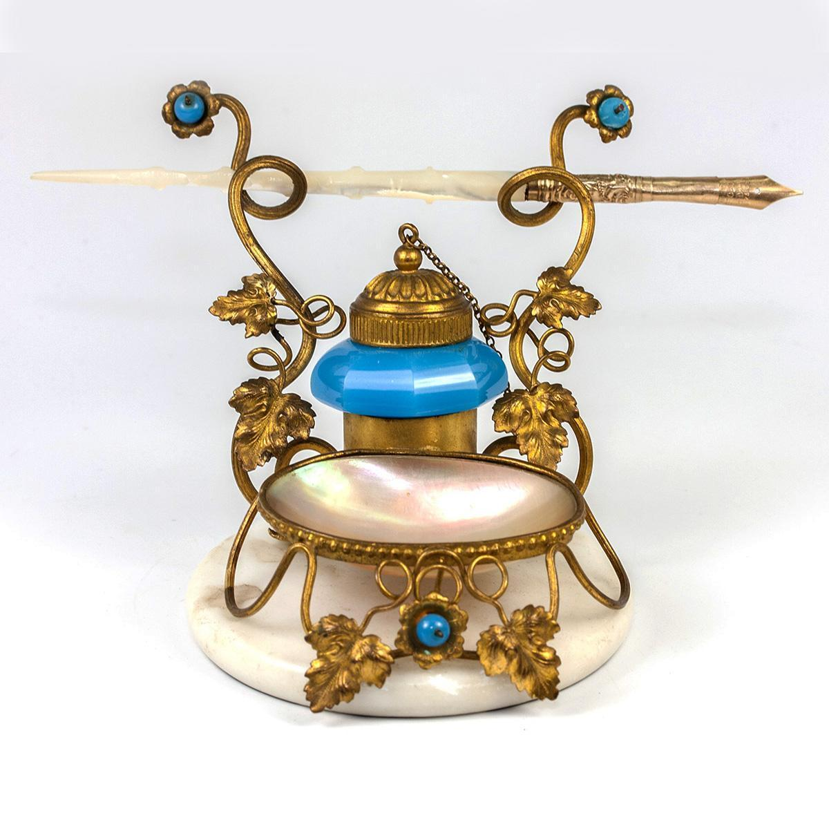 Superb Antique French Palais Royal Inkwell and Pen Stand, Opaline and Mother of Pearl in Ormolu