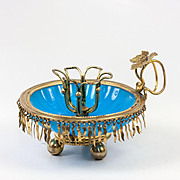RARE Antique French Opaline Candle Holder, Candlestick, Fringed in Gilt Brass - Cigar Holder
