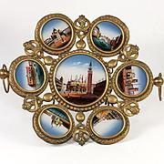 RARE Fabulous Antique French Eglomise Grand Tour Souvenir Tray, 7 Views of Venice, Paintings