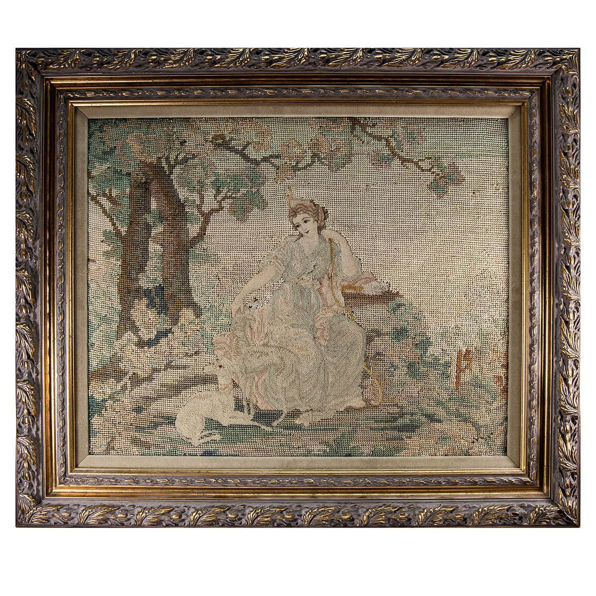 Fine Antique Petitpoint Needlepoint Tapestry in Frame,