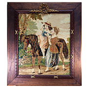 RARE Antique Victorian Needlepoint Tapestry, French Frame, Children & Pony