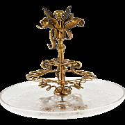 """Antique French Dore Bronze Ormolu Cattails Cigar Server, Crystal, 9,5"""" Diam Tray"""